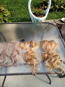 Blonde Hair Extensions lot of 3 Hair2wear & Hairdo hair do Golden shades