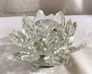 LARGE CLEAR  Crystal LOTUS Flower Ornament Home Decor Manual Rotate Round