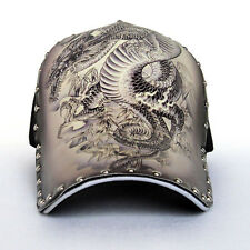 Women/Mens Dragon Tattoo Adjustable Cap Punk Rock Rivet Hip Hop Baseball Hat