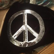 Big Sequin Peace Sign Appliqué-7 Inches-Silver-Iron On/Sew-Home Decor-Clothing