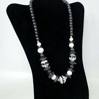 Vintage Wood Painted Necklace Black White Beads Retro Jewelry Bohemian Boho