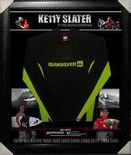 KELLY SLATER 11 TIMES SURFING SIGNED & FRAMED BOARD RASH VEST PSA DNA Y39392
