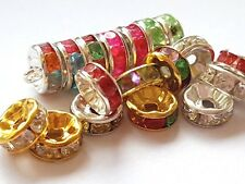 50 RONDELLE RHINESTONE SPACER BEADS Gold/Silver 8mm Various Colours
