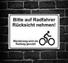 """Schild Hinweisschild Hinweis """"Bitte auf Radfahrer Rücksicht nehmen"""" Fahrrad Rad"""