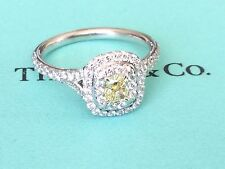 TIFFANY & CO PLATINUM SOLESTE FANCY INTENSE YELLOW DIAMOND RING .78 TCW SIZE 6