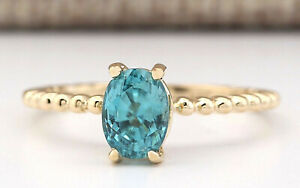 1.80 Carat Natural Zircon 14K Yellow Gold Solitaire Promise Ring