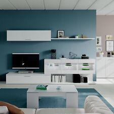 Aral Vetro TV Media Full Wall Unit Melamine White + LED Illuminated Storage