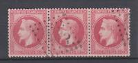 SUPERBE FRANCE CLASSIQUES  bande de 3 du N° 32 NAPOLEON 80c ROSE LOSANGE 1533
