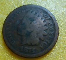 1875  Indian Head Penny Cent  Coin  #1875