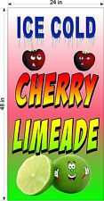 2' X 4' Vinyl Banner Ice Cold Cherry Lime Ade Limeade Drinks Vertical