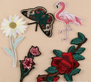 Flamingo Daisy Butterfly EMBROIDERED FABRIC APPLIQUE SEW IT IRON ON PATCH BADGE
