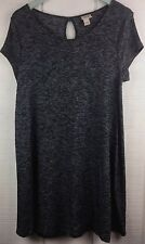 Mossimo Womens Dress Size Large L Gray Sweater Short Sleeve Key Hole Soft A Line