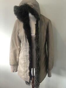 Esprit Snow Ski Down Faux Fur Trim Hooded Multi 2 In 1 Jacket Beige Size 8 Belt