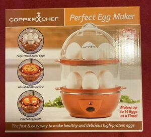 NEW Copper Chef Perfect Egg Maker Electric Egg Cooker Auto Boil Up To 14 Eggs