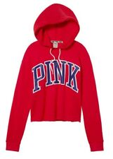 Victorias Secret PINK Hoodie RED Sweatshirt Raw Edge Pullover L Large Blue Logo