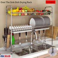Over Kitchen Sink Organizer Dish Drying Drainer Rack Storage Holder Shelf Sliver