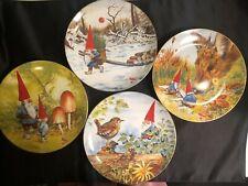 RIEN POORTVLIET Four Season Gnome Plates 1982 Set VINTAGE