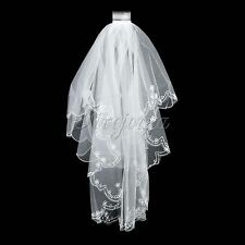 White Short Embroidery Lace Edge Bead Veil With Comb Bridal Veil Wedding 2 Layer