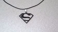 Superman Superhero Stainless Steel Necklace Jewelry Pendant Leather Cord Unisex