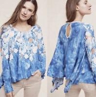 Anthropologie Meadow Rue Blue Floral Fields Linen Swing Top Women's XS