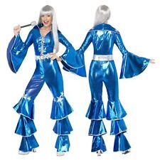 Ladies 1970s Dancing Dream Costume Adult Fancy Dress Waterloo 70s Queen Jumpsuit
