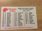 1978-79 Philadelphia Firebirds Hockey Official AHL Schedule Original Vintage