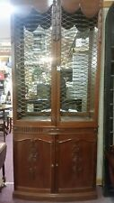 Excellent Carved Mahogany 2 Door  China Cabinet Bow Front Yet Slender