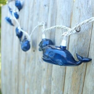 Great Blue Whale 8.5 Foot String Lights 10 Count Indoor Outdoor