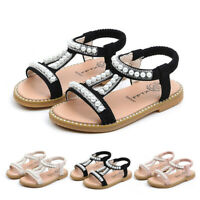 Toddler Infant Kids Girls Pearl Crystal Single Princess Roman Party Shoes Sandal