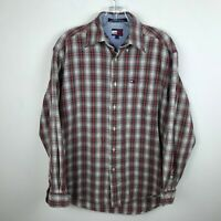 Vintage Tommy Hilfiger Shirt Size S Red Green Plaid Mens Cotton Long Sleeve