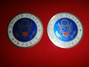Set Of 2 US Air Force Insignia Metal Badges With Flat Backs