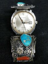 Selfwinding Sterling Silver Turquoise Coral Ahasteen Signed Navajo Watch Bulova