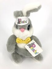 "Pouche Bunny 11"" Plush Rabbit Front Pouch Bow Tie Visor VTG 1989 Stuffed Animal"