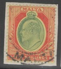 MALTA SG63 1911 5/= GREEN & RED/YELLOW FINE USED ON PIECE