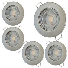 Flache MCOB Modul LED Strahler | Edelstahl geb. | 5Watt | 230V | Starr | ET=30mm