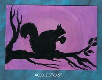 Original ACEO - Squirrel - miniature acrylic painting, not framed