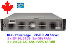 DELL PowerEdge 2U Server 2950 III 2 x E5420 32GB RAM PERC 6i Raid 8 x 146GB SAS