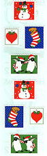 Mrs. Grossman's Stickers - Christmas Stamps - Penguins, Dog, Snowmen - 4 Strips