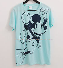 Disney Short Sleeve Mickey Mouse Print Women's Junior Graphic Tee Top Mint sz M