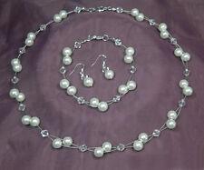Perlen Schmuckset 3-teilig creme-weiß  Collier - Armband - Ohrringe handgef.