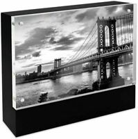 Isaac Jacobs Wood Block Acrylic Picture Frame, 5x7 Black