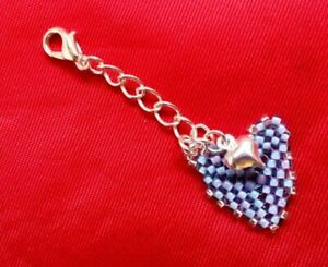 Nice small Gift DESIGNER Geometric handmade TWO HEARTS Bag CHARM, lovely Gifts