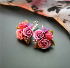 Floral wedding EARRINGS bridal HANDCRAFTED Fashion polymer clay Dangle HANDMADE
