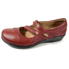 Clarks Collection Women's Mary Jane Shoes Red Leather Size 7.5M