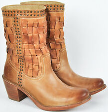 Frye Womens Carmen Woven Sand Tan Leather Short Boots 7.5 7&1/2 76245 Studded