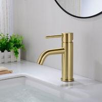 Solid Brass Bathroom Basin Mixer Tap Sink Faucet, Matte Black or Brushed Gold