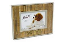 "Lovely Shabby Rustic Dog Photo Frame - Woof 4"" x 6"" BB357"