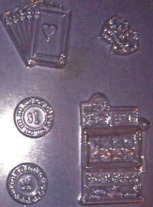 SLOT MACHINE, PLAYING CARDS, DICE AND GAMBLING CHIPS CHOCOLATE MOULD