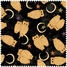 BLACK CAT CROSSING OWLS MOONS STARS HALLOWEEN FABRIC