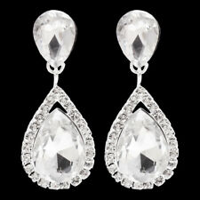 Non-Pierced Crystal Tear Drop Shaped Rhinestone Diamante Clip On Dangle Earrings
